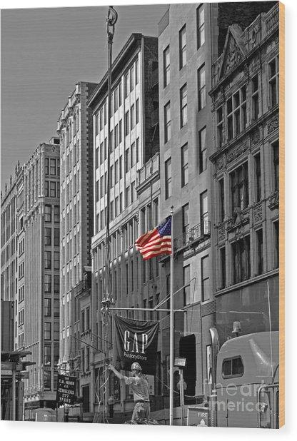 American Iron Worker Wood Print