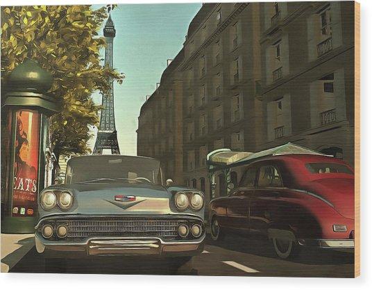 American  Oldtimers In Paris Wood Print