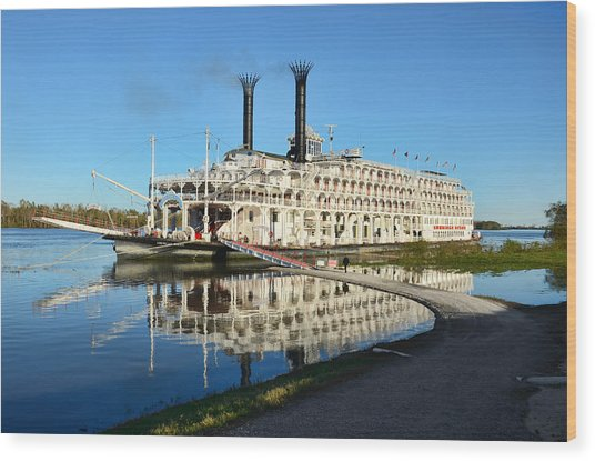 American Queen Steamboat Reflections On The Mississippi River Wood Print