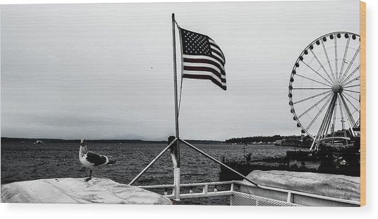 American Seattle Wood Print