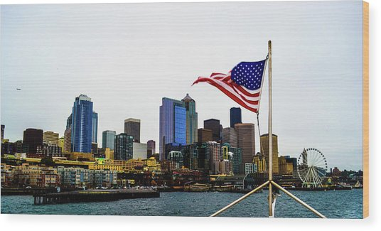 American Seattle Ic Wood Print