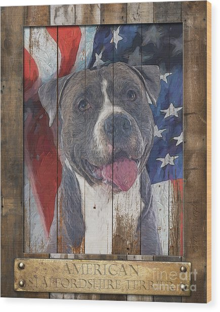 American Staffordshire Terrier Flag Poster 2 Wood Print by Tim Wemple