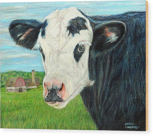 Americana Calf Wood Print by Angela Finney
