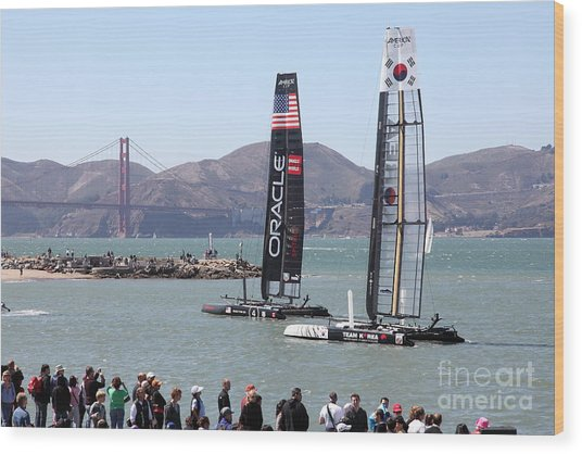 America's Cup Racing Sailboats In The San Francisco Bay - 5d18253 Wood Print