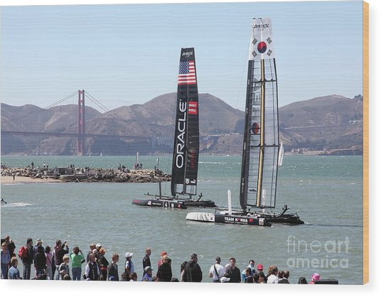 America's Cup Racing Sailboats In The San Francisco Bay 5d18253 Wood Print