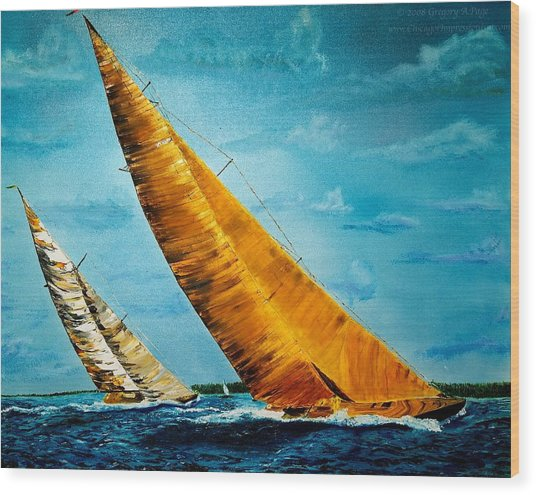 Americas Cup Sailboat Race Wood Print by Gregory Allen Page