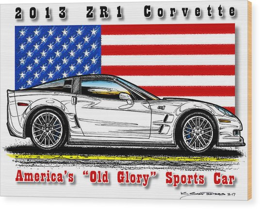 America's Old Glory 2013 Zr1 Corvette Wood Print