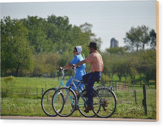 Amish Bike Ride Wood Print