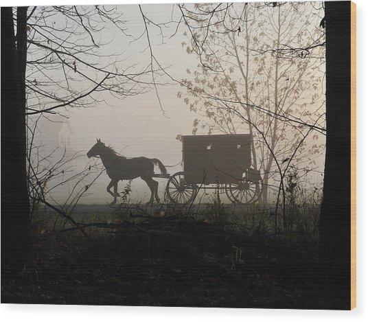Amish Buggy Foggy Sunday Wood Print