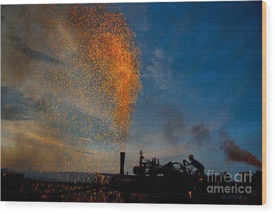 Amish Fireworks Wood Print