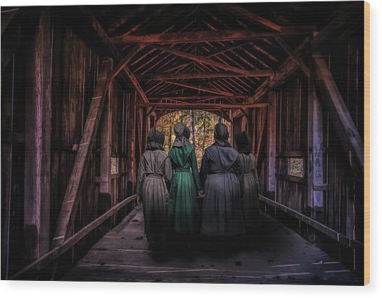 Amish Girls In Covered Bridge Wood Print
