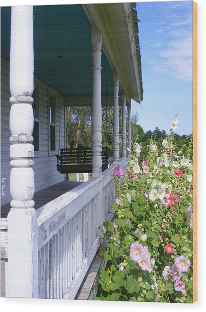 Amish Porch Wood Print