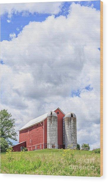 Amish Red Barn And Silos Wood Print