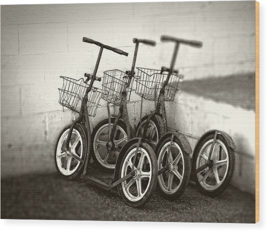 Amish Scooters In Black And White Wood Print