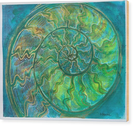 Wood Print featuring the painting Ammonite Number One by Laurie Maves ART