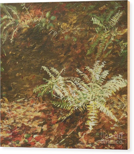 Among The Leaves Wood Print by Carla Dabney
