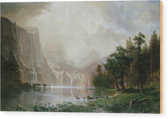 Among The Sierra Nevada Mountains California Wood Print by Albert Bierstadt