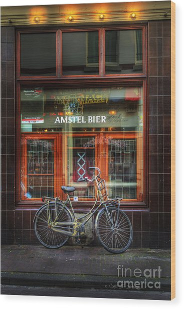Amstel Bier Bicycle Wood Print