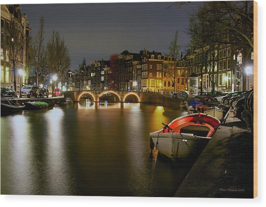 Amsterdam At Night Wood Print