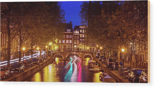 Wood Print featuring the photograph Amsterdam By Night by Barry O Carroll