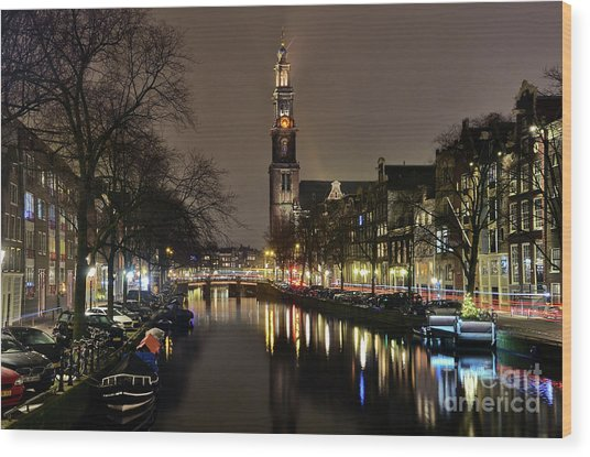 Amsterdam By Night - Prinsengracht Wood Print
