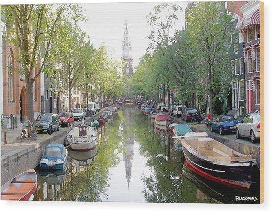 Amsterdam Canal Wood Print by Al Blackford