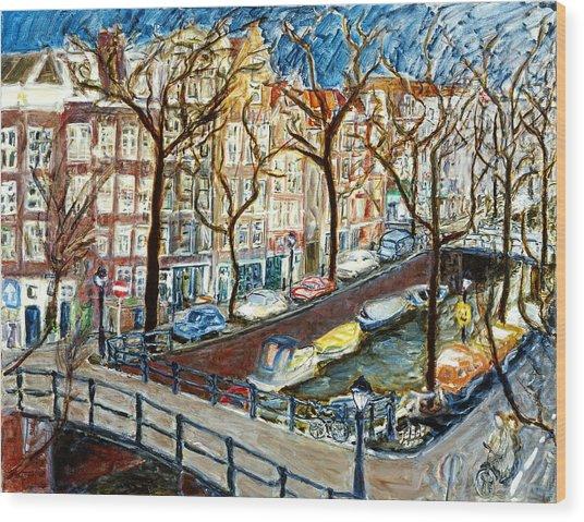 Amsterdam Canal Wood Print by Joan De Bot