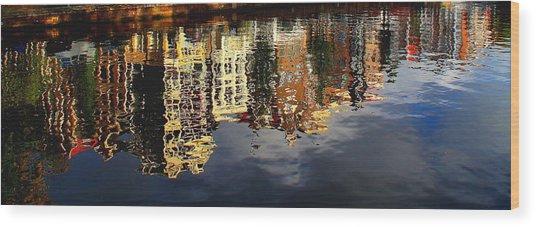 Amsterdam Canal Reflection Wood Print