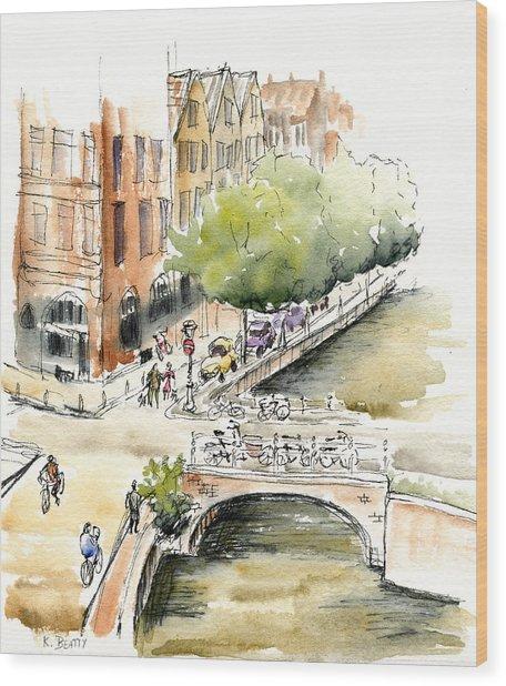 Amsterdam Canal Watercolor Wood Print