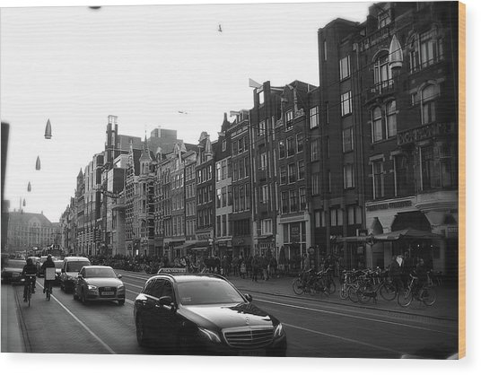 Wood Print featuring the photograph Amsterdam Traffic 2 by Scott Hovind
