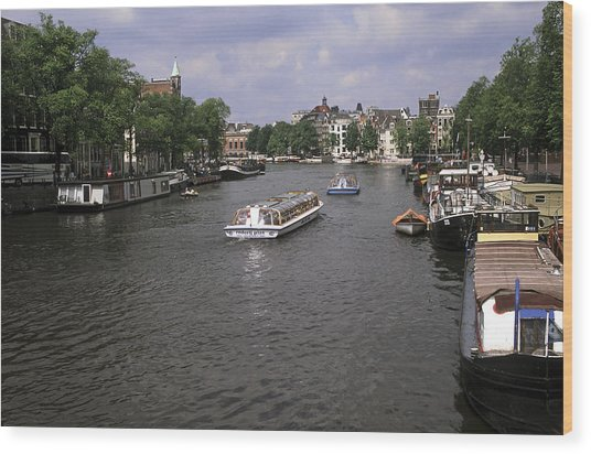 Amsterdam Water Scene Wood Print