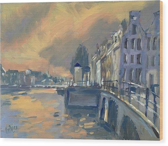 Amsterdm Morning Light Amstel Wood Print