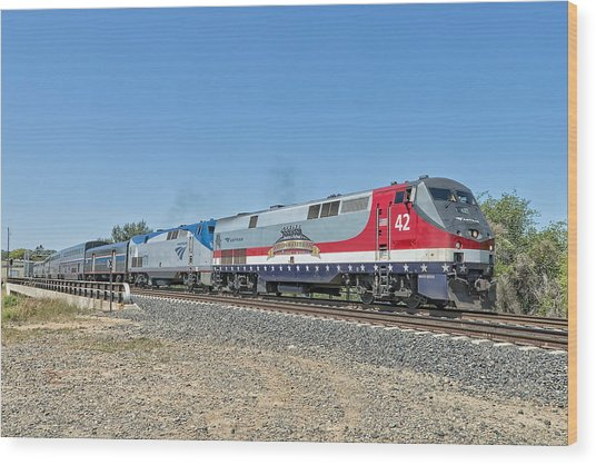 Wood Print featuring the photograph Amtrak 42  Veteran's Special by Jim Thompson