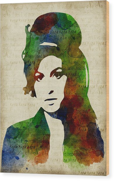 Amy Winehouse Watercolor Wood Print