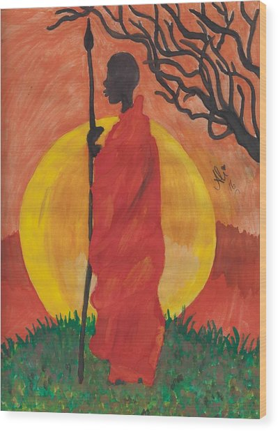 An African Man Wood Print by Bobby Dar