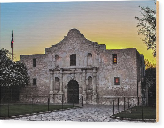 An Alamo Sunrise - San Antonio Texas Wood Print