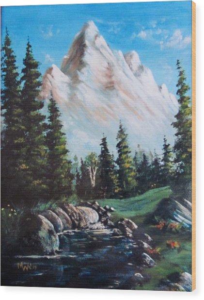 An Alpine Stream Wood Print