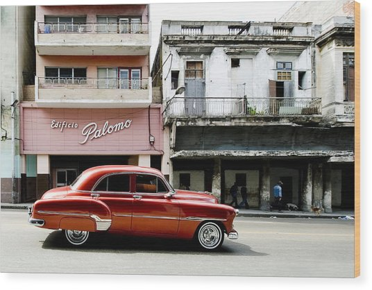 Wood Print featuring the photograph An American In Havana by Denis Rouleau