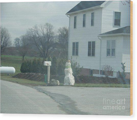 An Amish Snowman Wood Print