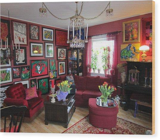 An Artists Livingroom Wood Print