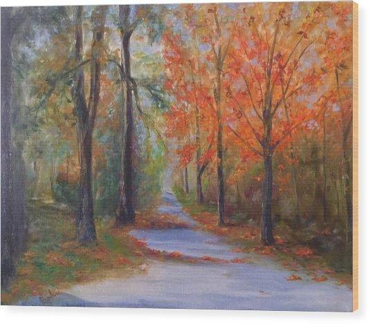 An Autumn Drive Wood Print