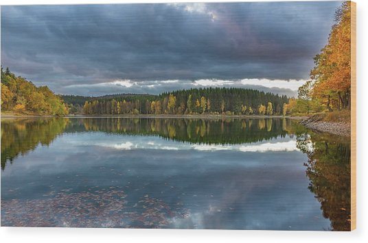 An Autumn Evening At The Lake Wood Print