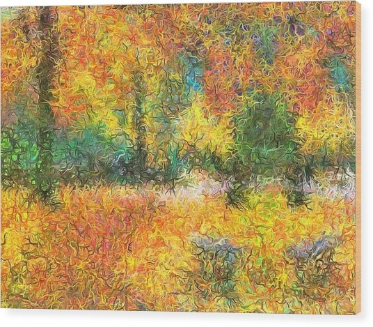 An Autumn In The Park Wood Print
