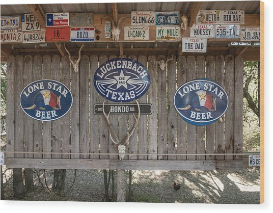 An Eclectic Display In Luckenbach Wood Print