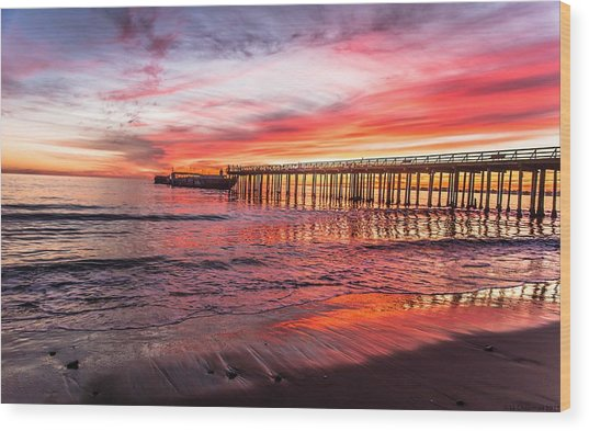 Seacliff Sunset Wood Print