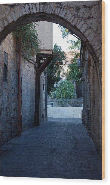 An Old Street In Jerusaem Wood Print by Susan Heller