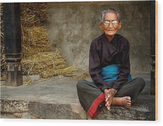 An Old Woman In Bhaktapur Wood Print