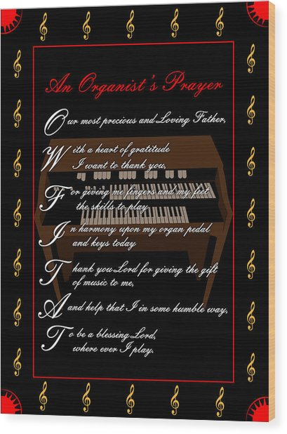An Organists Prayer_1 Wood Print by Joe Greenidge