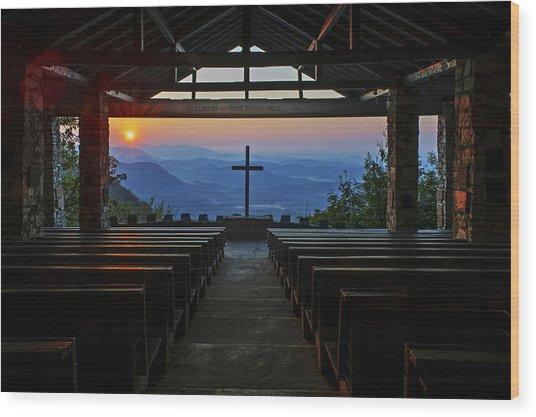 An Outdoor Mountain Chapel   Symmes Chapel Aka Pretty Place  Greenville Sc Wood Print