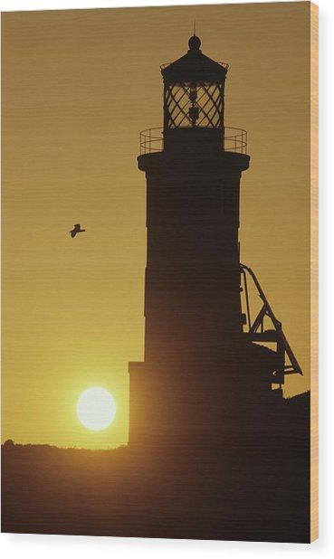 Anacapa Lighthouse And Sunrise Wood Print